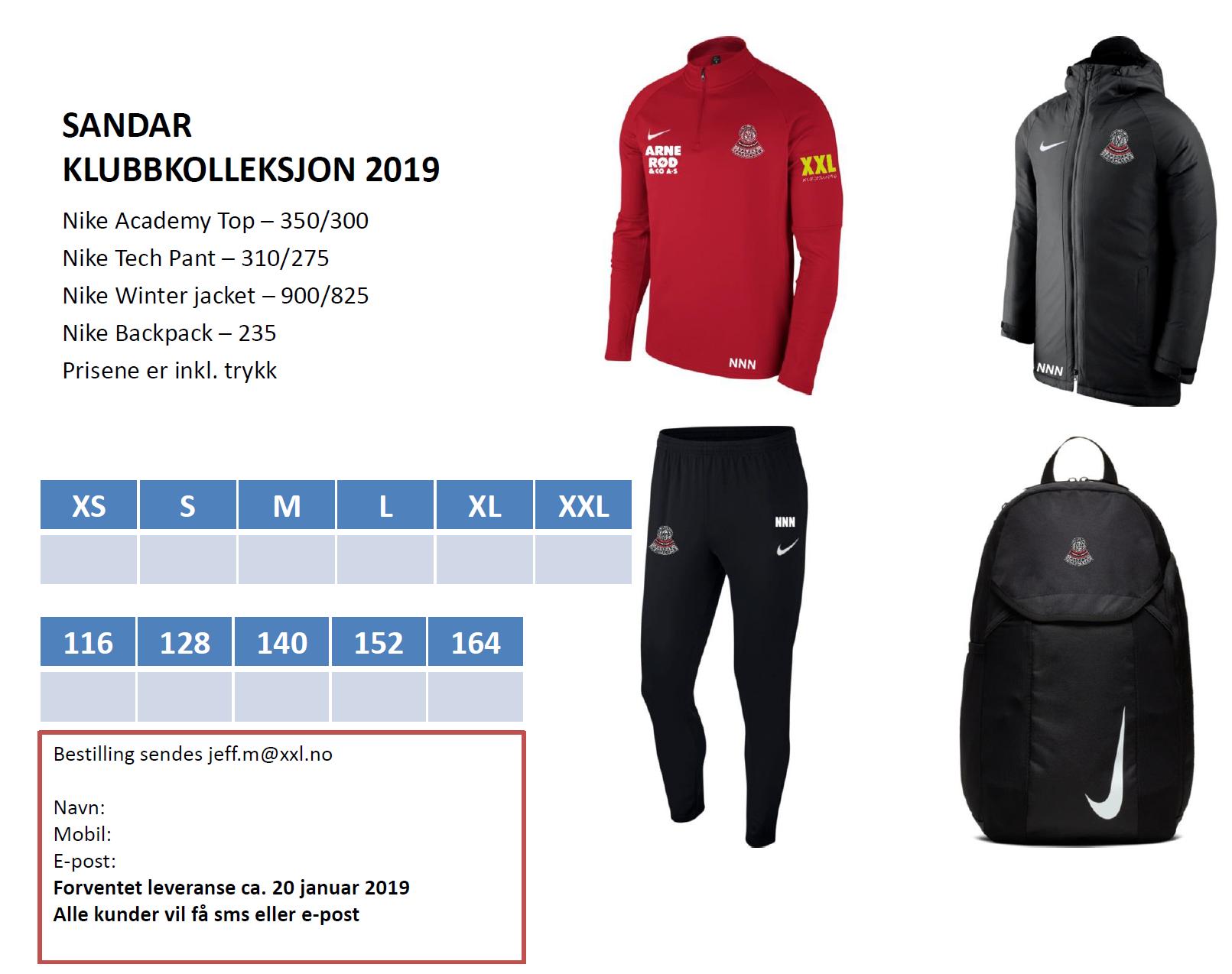 Sandar klubbkolleksjon XXL Nike 2019
