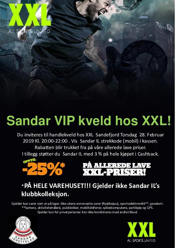 XXL Sandar VIP-kveld 28. februar