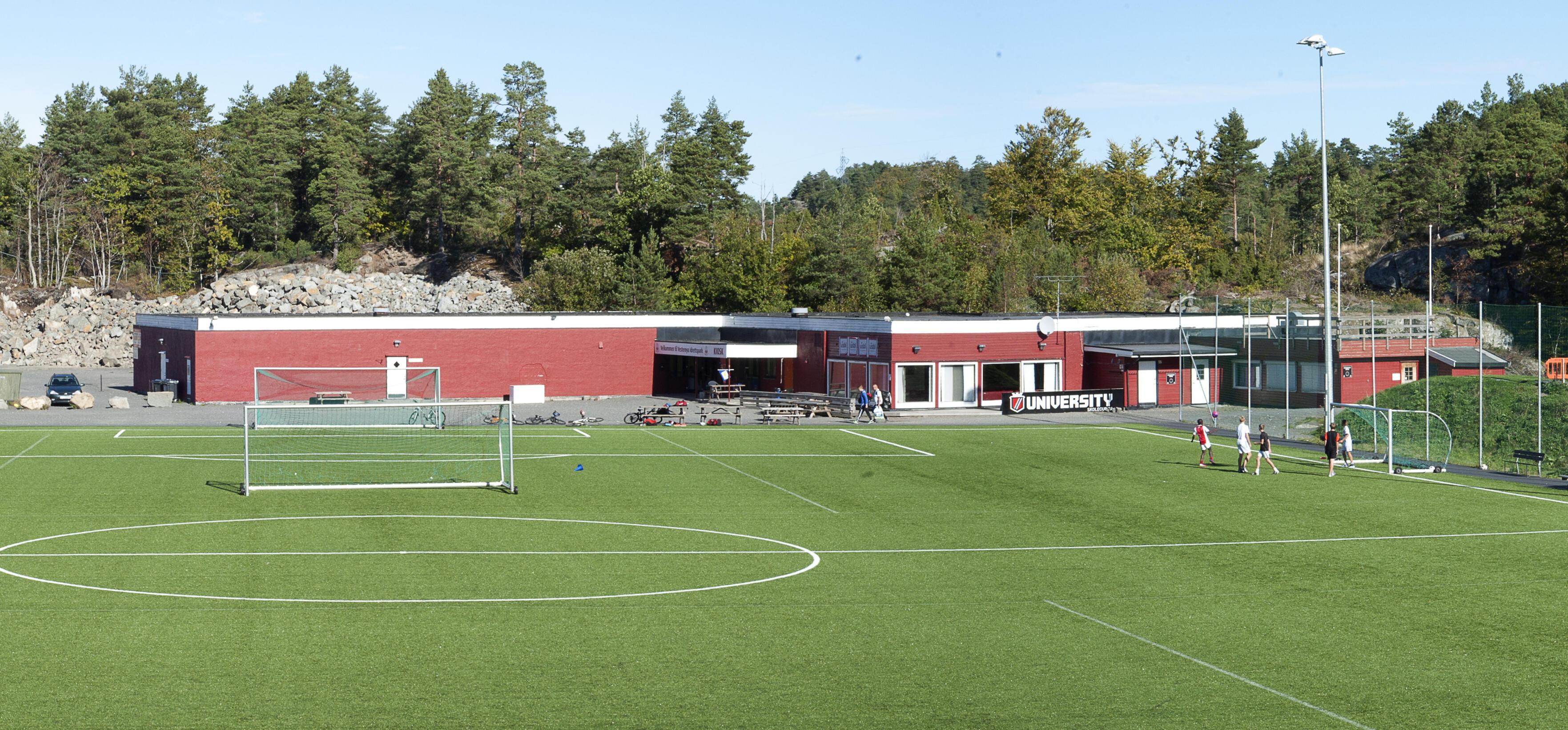 Sandar IL Klubbhus bygget i 1980 - Vesterøya Idrettspark